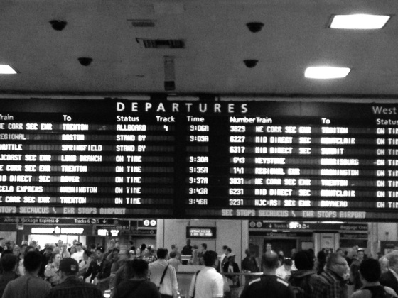 Grabbing the train at Penn Station.