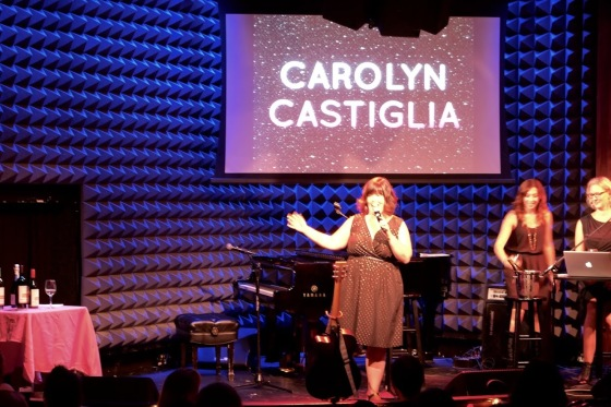 Guest comic Carolyn Castiglia storming the stage